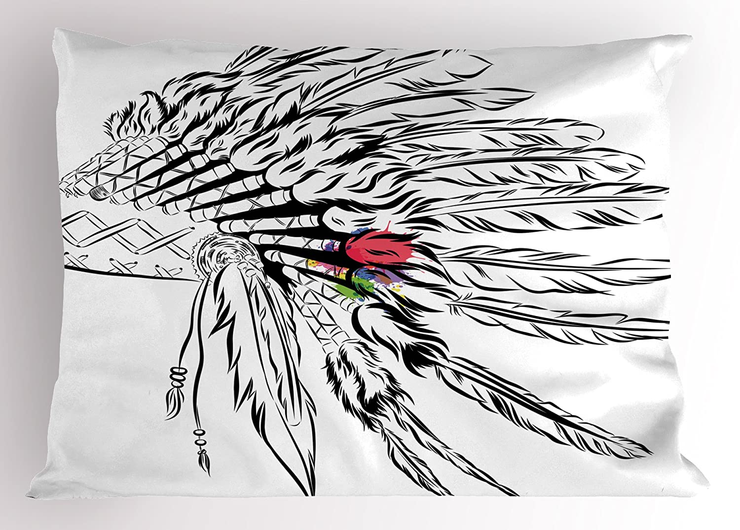 Native american headdress in sketch style with color splashes primitive decorative standard queen size printed pillowcase 30 x 20 inches black white