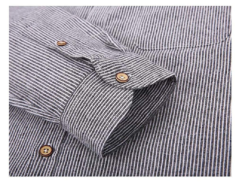 CuteRose Men No-Iron Long-Sleeve Relaxed-Fit Stripes Fit Casual Shirt