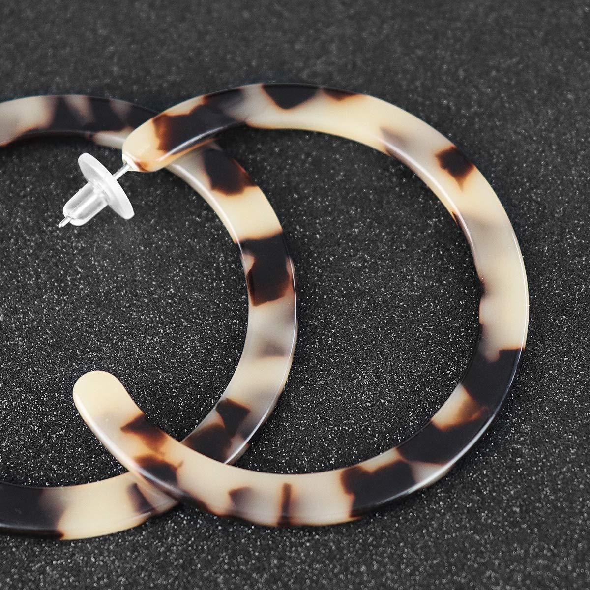 Gleamart Acrylique Marbr/é Hoop Boucles DOreilles Tortue Shell R/ésine Cercle Boucles Doreilles Pour Les Femmes