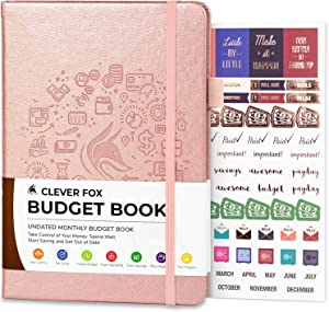 """Clever Fox Budget Book - Financial Planner Organizer & Expense Tracker Notebook. Money Planner Account Book for Household Monthly Budgeting and Personal Finance. Compact Size (5.3"""" x 7.7"""") - Rose Gold"""