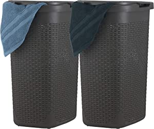 Superio Laundry Hamper with Lid 60 Liter Brown (2 Pack) Plastic Wicker Large Hamper Basket with Cutout Handles, Deluxe Bin to Storage Dirty Cloths in Washroom Bathroom