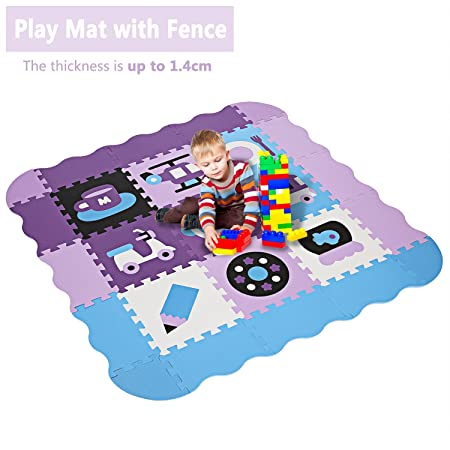 Play Mat with Fence, 1.4cm Extral Thick Non Toxic Crawling Puzzle Play Mat, Interlocking Foam Tiles Playmat Floor Mats for Baby Infant Toddler Kids Tummy Time US STOCK