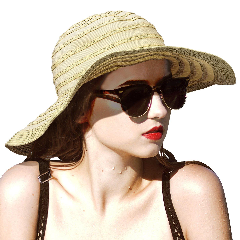 Women Summer Beach Hat Packable Striped Floppy Wide Brim Sun Protection Travel Hats