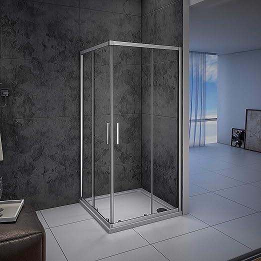 Mampara de ducha, Apertura Central, Puertas Correderas 80x80x185cm ...