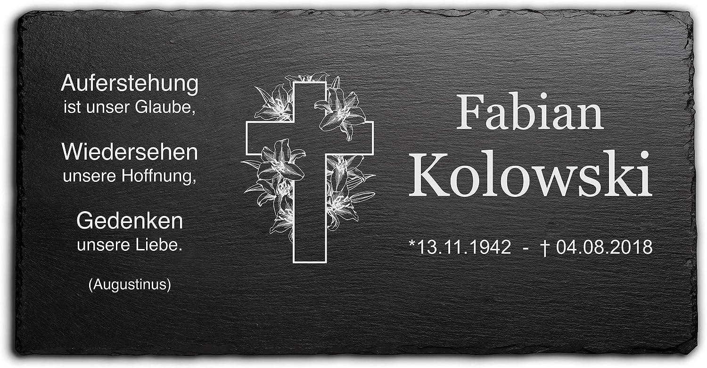 Grabstein Doppelkreuz ►Kreuz und Wunschgravur◄ Gedenktafel Grabtafel 30 x 20 cm