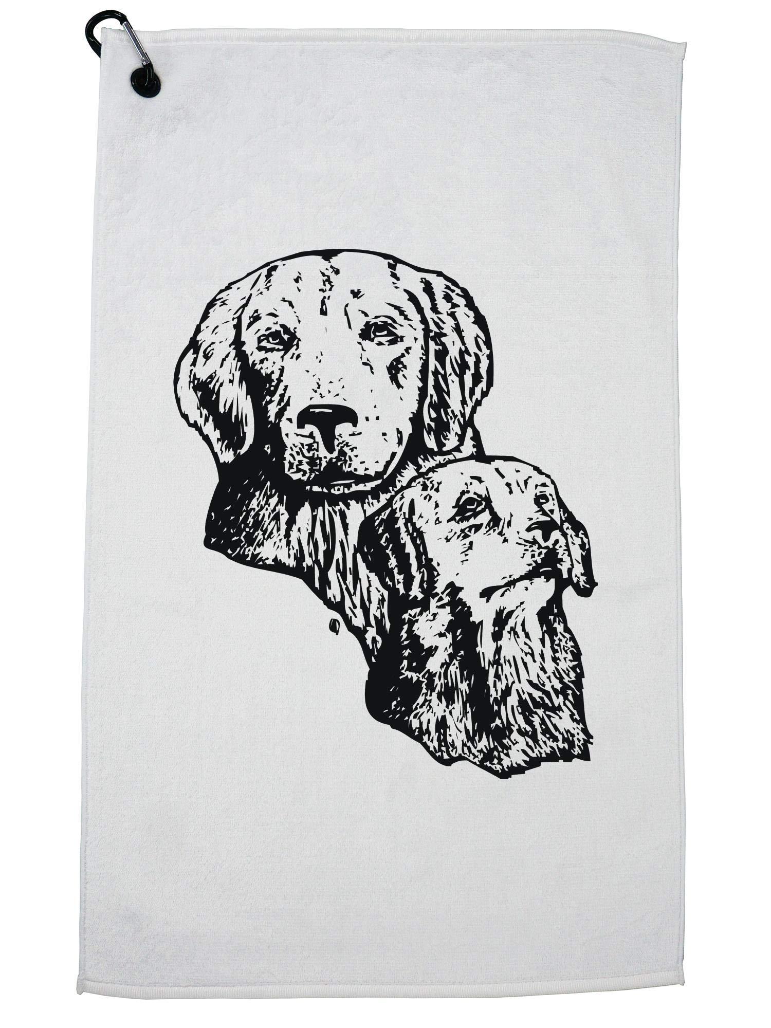 Hollywood Thread Adorable Golden Retriever Dog Lover Golf Towel with Carabiner Clip