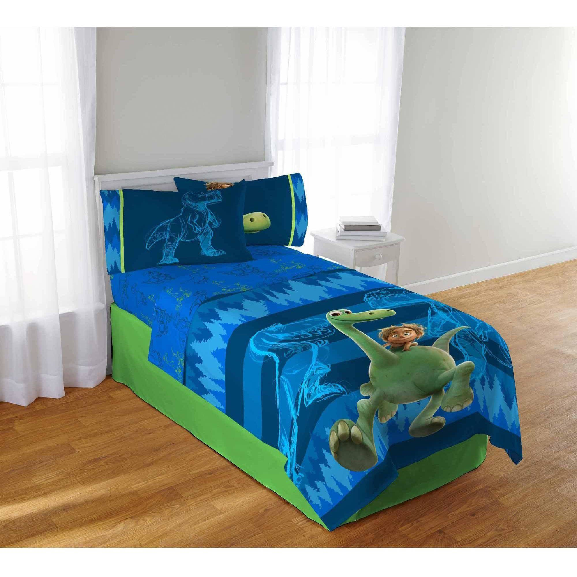 A&L 3 Piece Kids Blue Good Dinosaur Sheet Set Twin, Green Animal Print Bedding Arlo Spot Bed Sheets Movie Character Adventure Themed Soft Cozy Comfortable Stylish Durable, Polyester by A&L