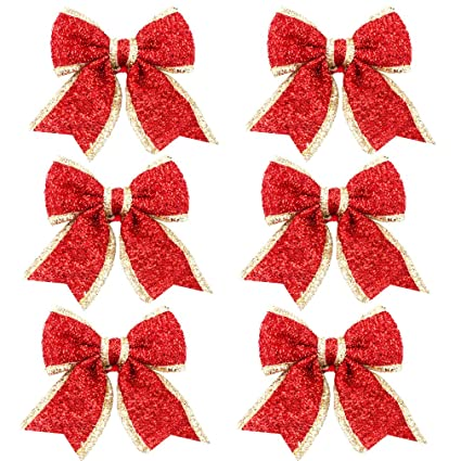 boieo christmas ornaments red ribbon bows christmas tree decorations set of 6