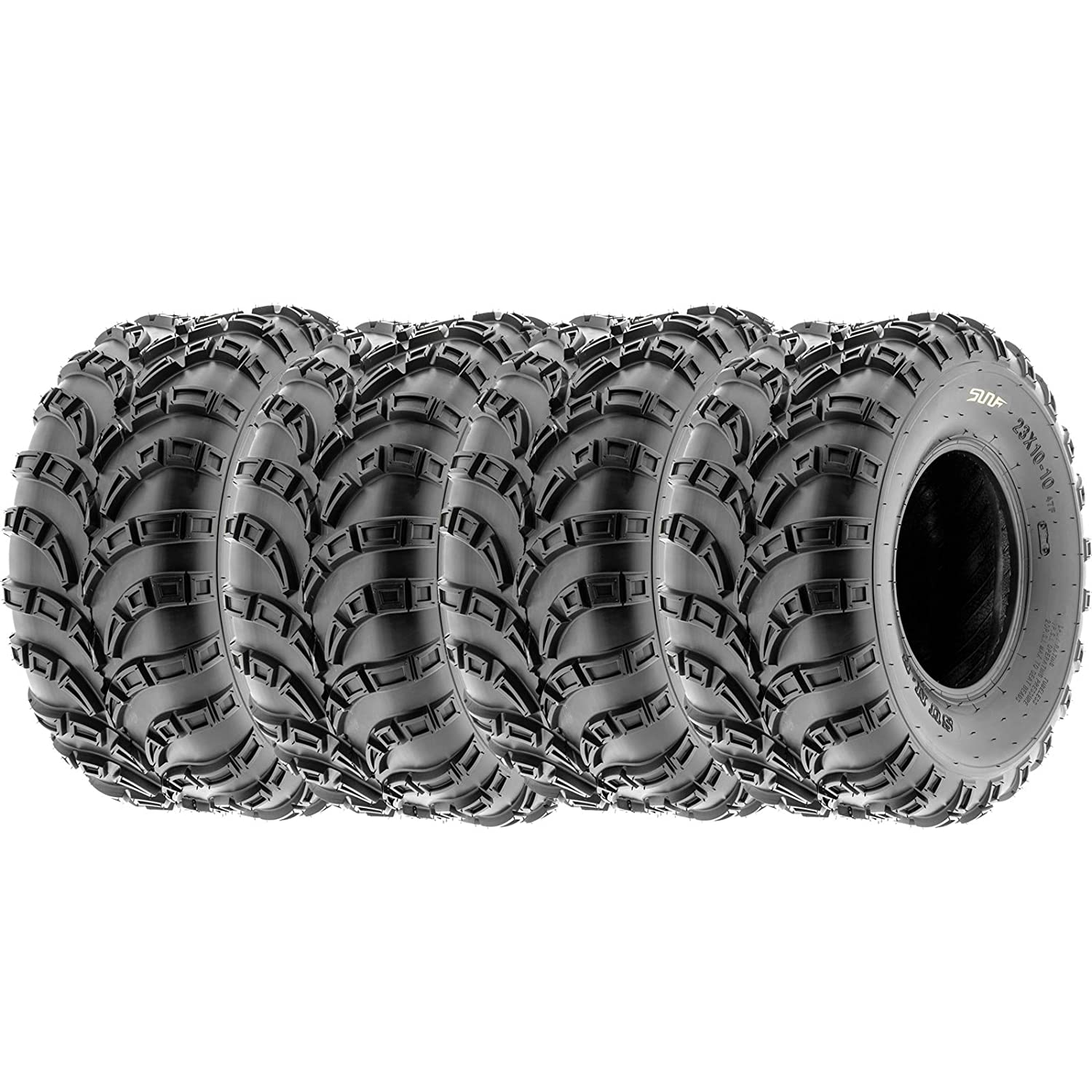 SunF Trail Race Replacement ATV UTV A/T 6 Ply Tires 23x7-10 & 22x10-10 Tubeless A028, [Set of 4] LCF1|A028|230710|221010|x4