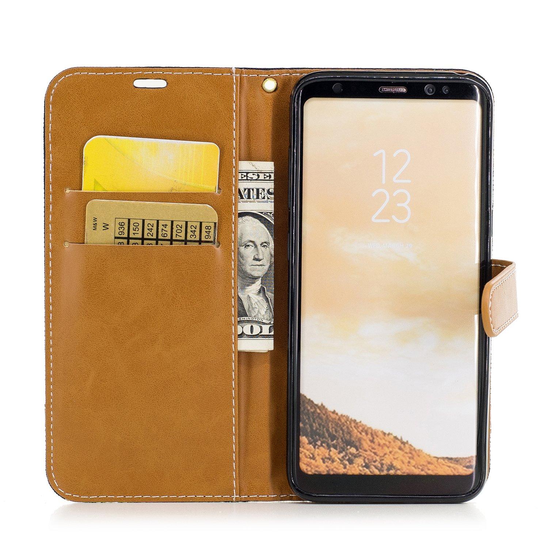 Denim gris Coque Samsung Galaxy S8 Plus,Ecoway/étui en cuir PU Couleurs m/élang/ées denim /étui de t/él/éphone Portefeuille Etui Housse de Protection Coque /Étui Case Cover avec Stand Support Avec des Cartes de