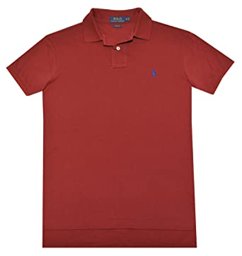 Polo Ralph Lauren Men Custom Fit Mesh Polo Shirt (Small, Red)