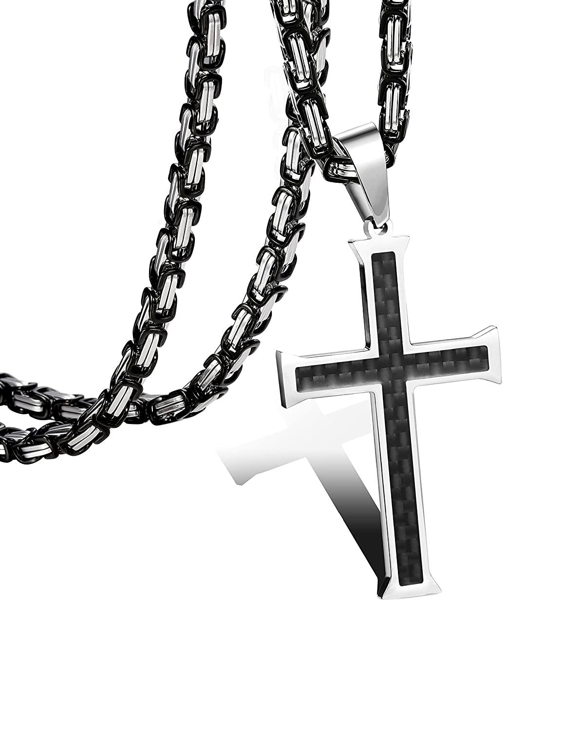 FIBO STEEL Stainless Steel Cross Pendant Mens Byzantine Chain Necklace 5mm Wide, 22-30 inches 3MPN002H-22