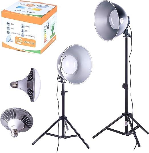 Juego de 2 Bombillas LED para Estudio fotográfico, luz Diurna, Caja de luz para fotografía: Amazon.es: Iluminación