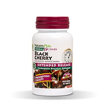 Natures Plus Herbal Actives Black Cherry - 750 mg.8% Anthocyanins, 30 Vegetarian