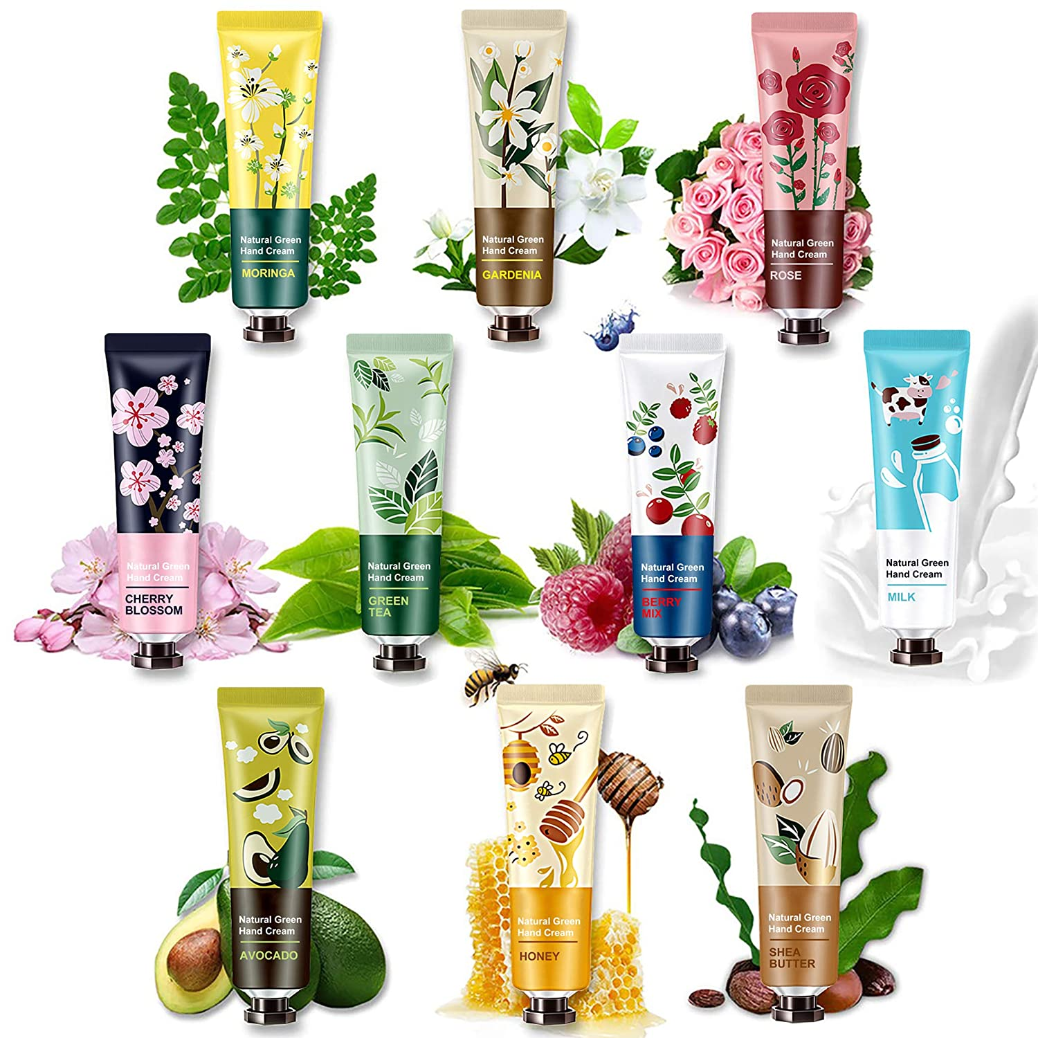 10 Pack Natural Plant Fragrance Hand Cream for Dry Working Hands, Moisturizing Hand Care Cream Travel Gift Set With Natural Shea Butter And Aloe For Men And Women,Travel Size Hand Lotion-30ml