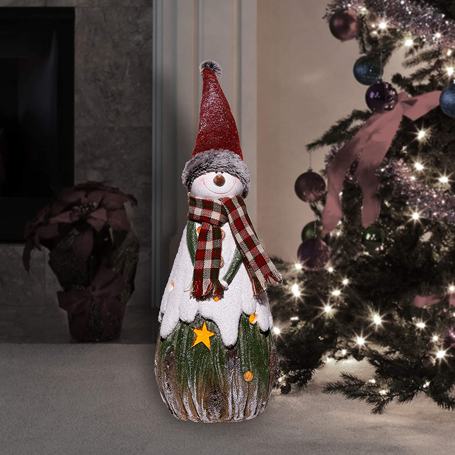 Alpine Corporation WTJ217 Christmas Country Snowman Tea Light Holder, Indoor and Outdoor Festive Home, Garden, Lawn Holiday décor, Multi