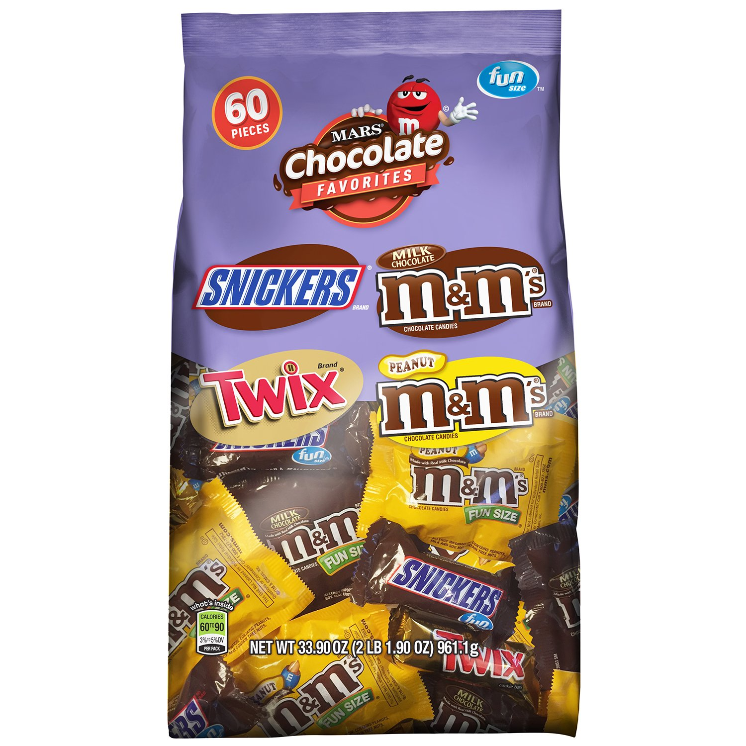 MARS Chocolate Favorites Fun Size Candy Bars Variety Mix 33.9 Ounces (60-Piece Bag)