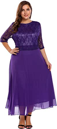IN'VOLAND Plus Size Cocktail Evening Party Lace Dresses Wedding Formal Gowns Women
