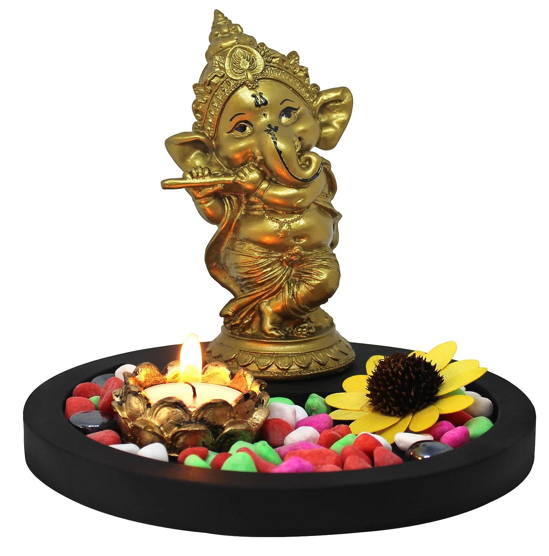 Tied Ribbons Golden Ganesha Playing Bansuri Ganesh Idol