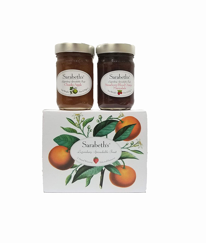 Sarabeth's Two Jar Gift Box Set - Two 9 oz. jars - Strawberry Blood Orange and Chunky Apple