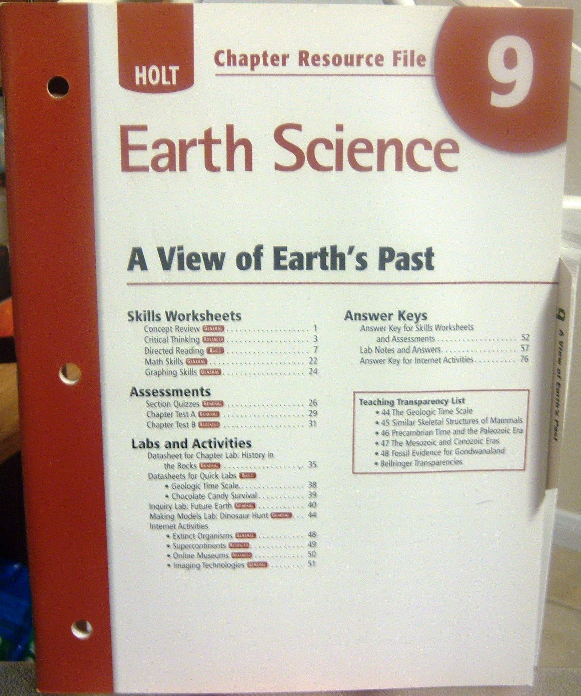Holt Chapter Resource File No 9 Earth Science A View Of Earth S