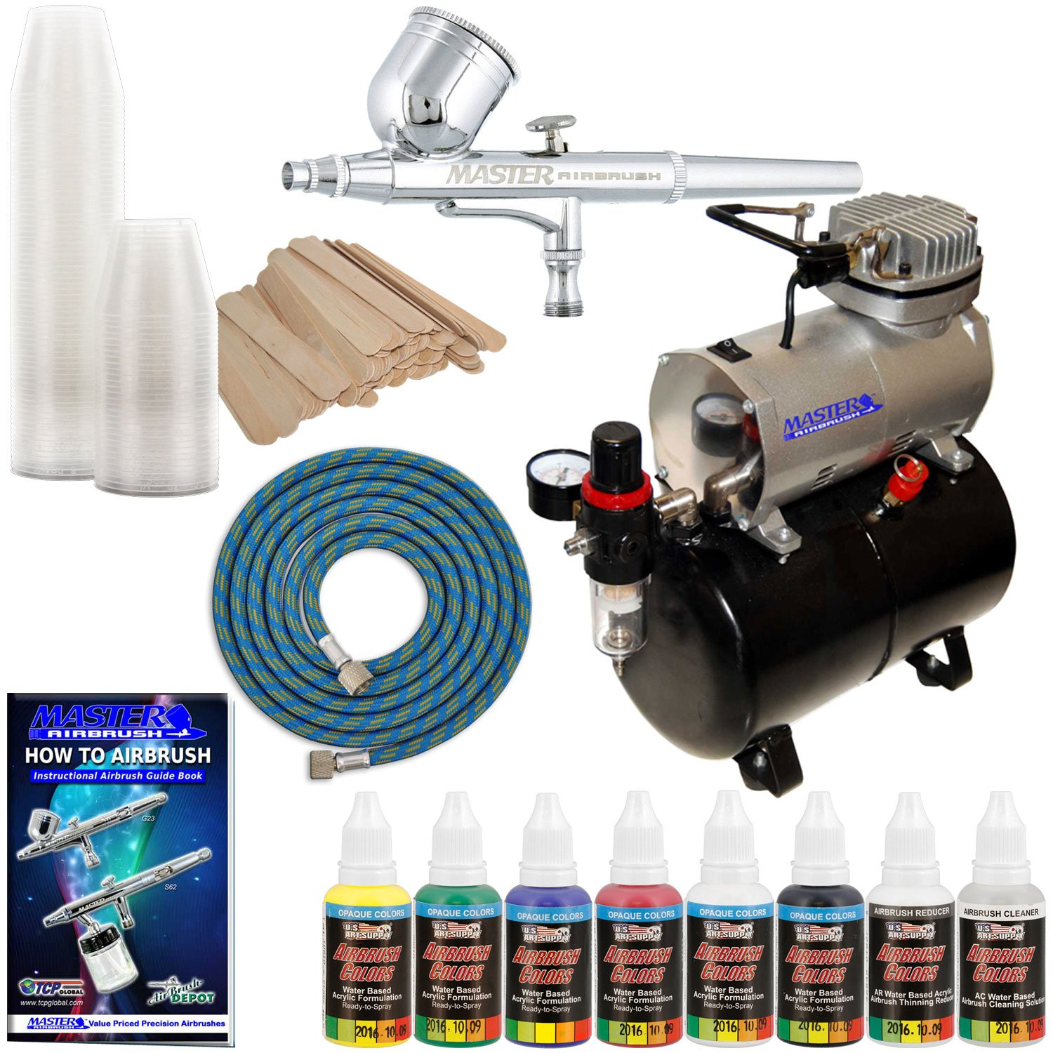 Complete Multi-Purpose Airbrush Kit with G22 Airbrush, Master Compressor TC-20T, Air Hose & 6 Primary US Art Supply Paint Colors, Airbrush Reducer & Cleaner Master Airbrush