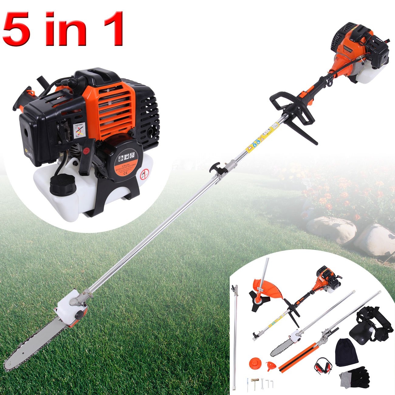 Iglobalbuy 52cc 5 in 1 Multifunction Grass Cutter Trimmer Brush Cutter Hedge Trimmer Chainsaw Earmuffs W/ CE certificate
