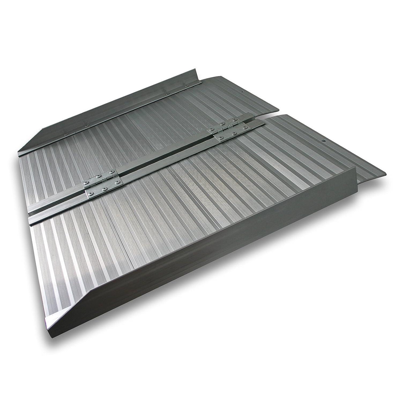 WilTec Rampa Corta de 62cm para un escalón 270kg Aluminio Portátil Plana Minusválidos Acceso Sin barreras