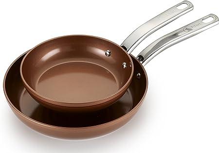 T-fal c4102s274 Endura cobre cerámica antiadherente apta para lavavajillas utensilios de cocina sartén, 2-pack, cobre: Amazon.es: Hogar