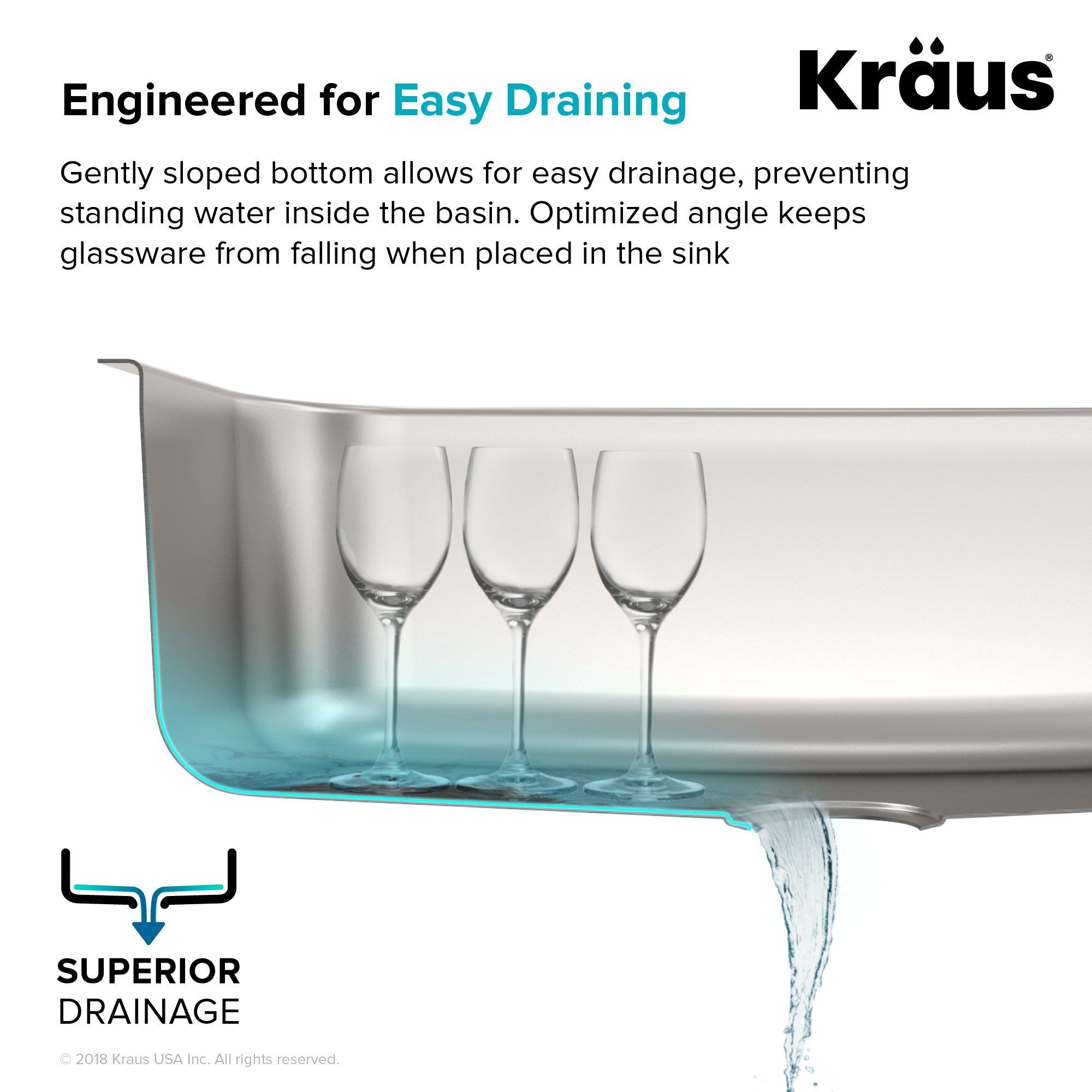 Kraus KBU14 31-1/2 inch Undermount Single Bowl 16-gauge Stainless Steel Kitchen Sink by Kraus (Image #6)