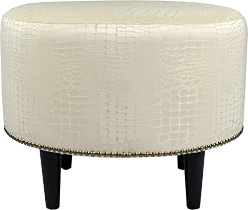 MJL Furniture Designs Sophia Collection Fabric Upholstered Round Footrest Ottoman