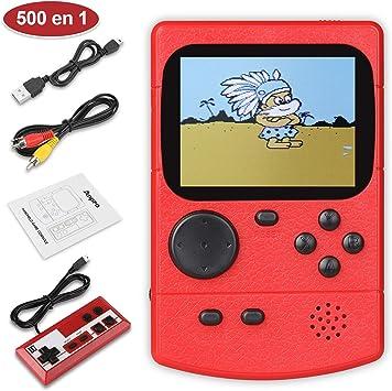 Amazon.es: Anpro Consola de Juegos Portátil, Juegos Electrónicos Portátiles con 500 Juegos Clásicos, Modo de Jugadores Dobles, Soporte Connect TV, Batería Recargable de 800 mAh