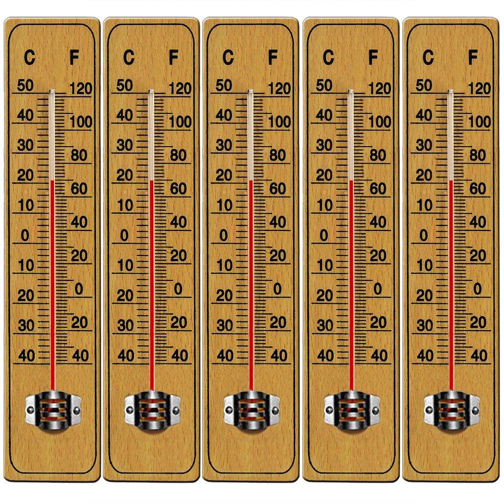 5 x Holzthermometer Set Zimmerthermometer Wandthermometer Thermometer Temperatur Außenthermometer Gartenthermometer 22cm Deuba