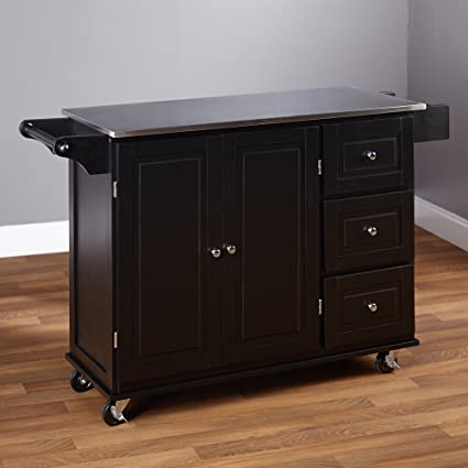 Indoor Sundance Kitchen Rolling Storage Wood And Metal Utility Cabinet Cart  With Stainless Steel Top
