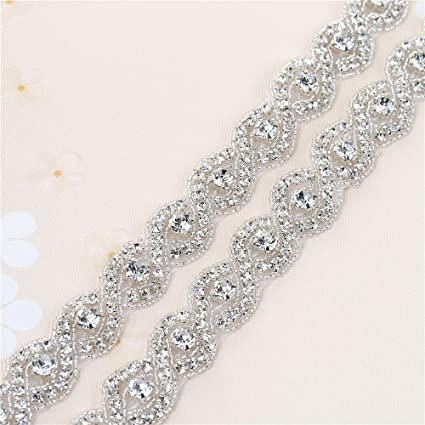 Bridal Beaded Crystal Trim Rhinestone Wedding Dress Sash Belt Applique  Trimming 1 Yard Sew on Hot 0aacefec1f36