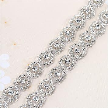 XINFANGXIU 1 yard Rhinestone Applique con Cristales y Perlas para el Vestido Headpieces Bolsas Cinturon para