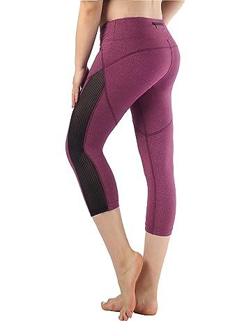 Munvot Legging Femmes Sport Jogging Capri Yoga Fitness Shorty Noir Séchage  Rapide avec Poches Taille Grande aadfcfd944ef
