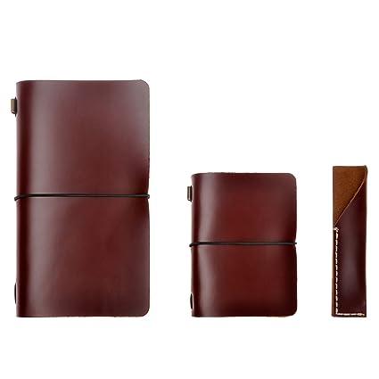 Agenda/cuaderno/diario de viaje en cuero – rellenable, clásico/vintage, hecho a mano, con porta-lápices, conjunto de tres