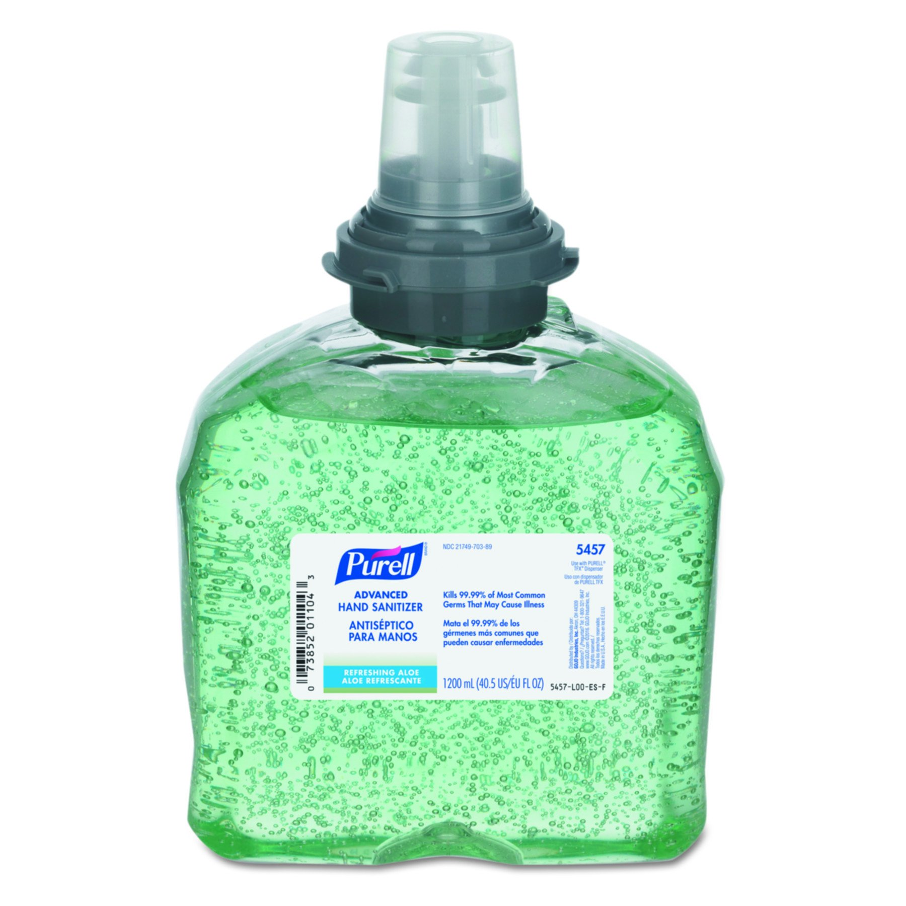 PURELL GOJ 5457-04 Advanced TFX Gel Instant Hand Sanitizer Refill with Aloe, 1200 mL, Clear (Pack of 4) by Purell