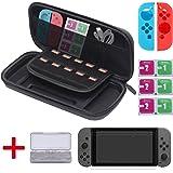 [13 In 1] Diyife® Nintendo Switch Tasche mit 3 KOSTENLOSEN HD Displayschutz, GameCard Case, 1 Paar Joy-Con Gel Schutzhülle, 6 Stück Reinigungsset, 10 Eingebauter Game Card Halter