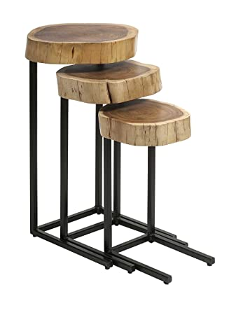 Wonderful IMAX 89205 3 Nadera Wood And Iron Nesting Tables, 3 Pack