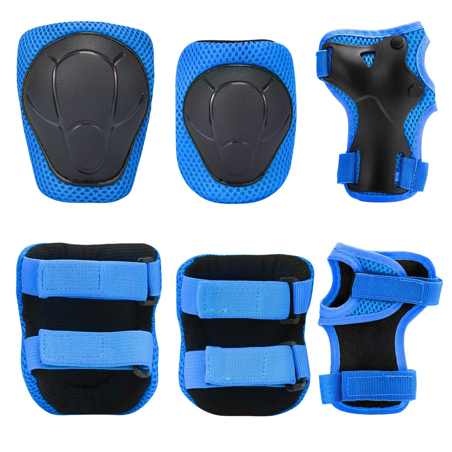 Dostar Kids Protective Gear Sports Protective Safety Pad Wrist Guards Knee Pads Elbow Pads 3 in 1 Protective Gear Appropriate for Skateboard Roller Blade Skiing and Other Outdoor Sports
