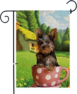 Bonsai Tree Burlap Yorkie Spring Garden Flags 12x18 Prime Double-Sided Summer Yard Outdoor Decorative Dog Flag Banner Stopper & Anti-Wind Clip