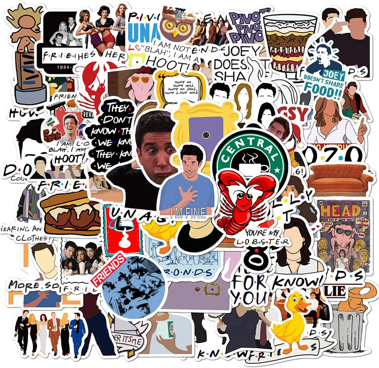 100PCS Friends Stickers Parks and Rec Stickers Waterproof Vinyl Stickers for Kids Teens Boys Adults Laptop Water Bottle Skateboard