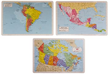 Painless Learning Educational Placemats South America Central America and  Canada Maps Set Non Slip Washable
