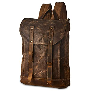 cddc502c075c Image Unavailable. Image not available for. Color  BRASS TACKS Leathercraft  Men s Waxed Canvas Backpack Casual ...