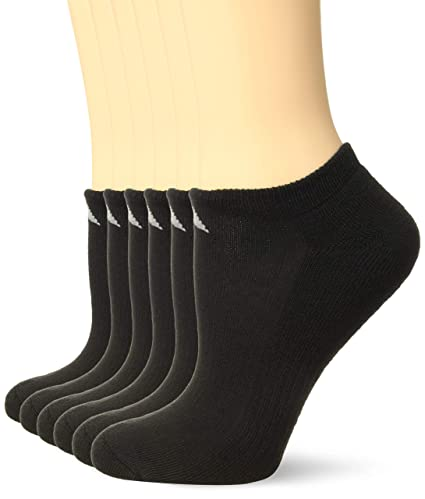 on sale 42147 bf00b adidas Womens Athletic No Show Socks (6-Pack), BlackAluminum 2