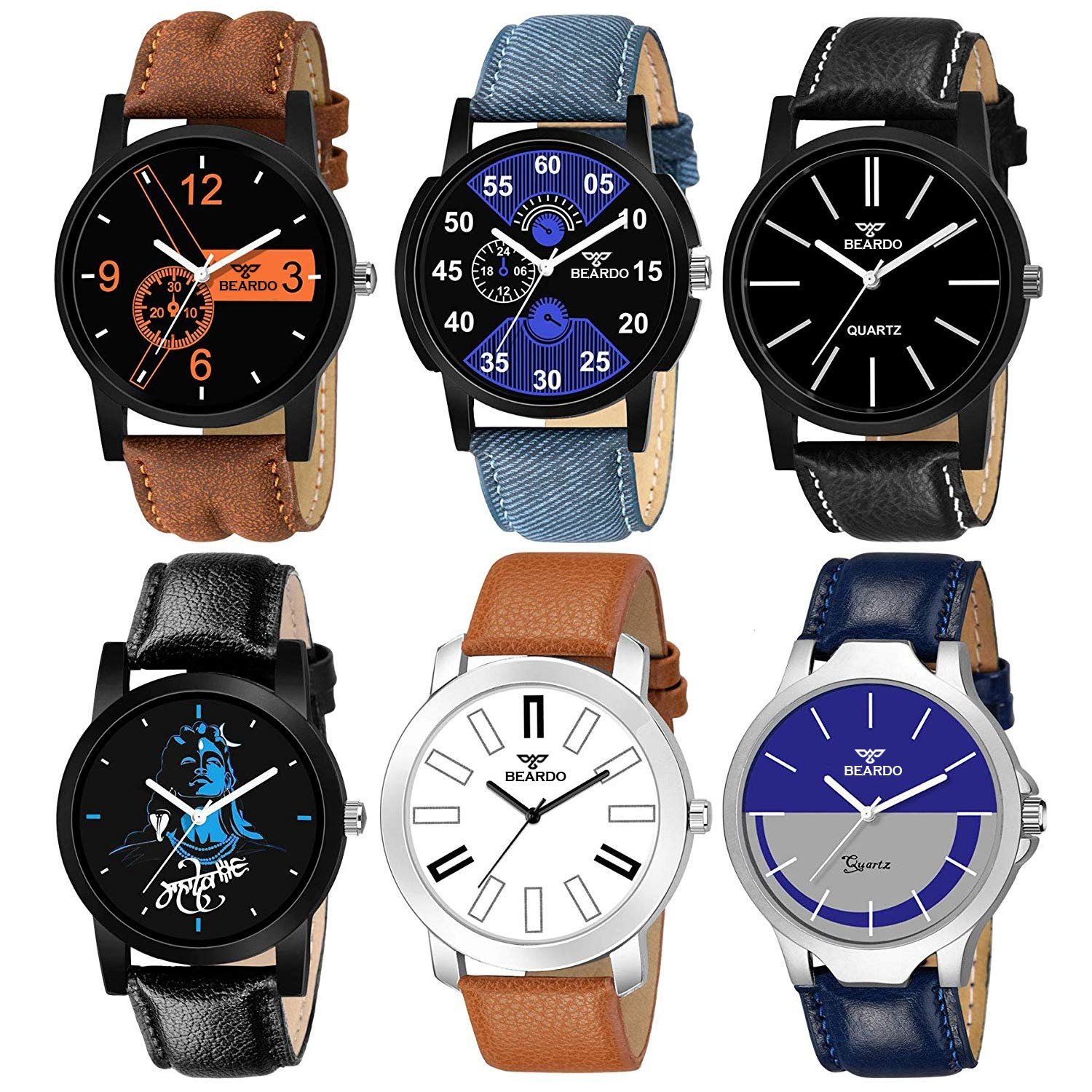 beardo-analogue-mens-boys-watch-assorted-dial-assorted-colored-strap-pack-of-6