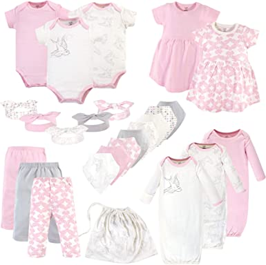 Touched by Nature Unisex Baby Layette Giftset Bundle with Laundry Bag