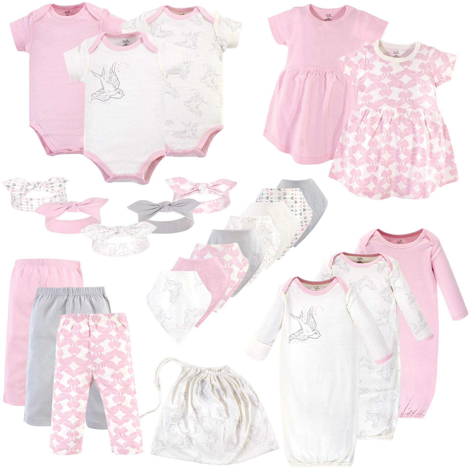 Touched by Nature Baby Organic Layette Set, Bird 25 Piece, 0-6 Months (6M) by Touched by Nature
